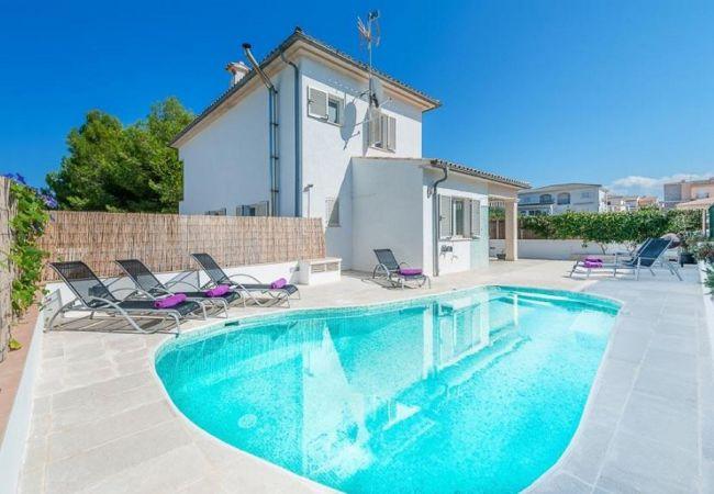 Santa Margarida, Picafort Villa, casa con piscina.